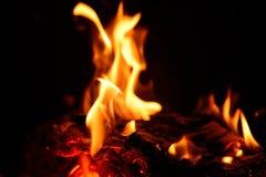Brandende brand in open haard Stock Foto