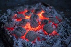 Brandende briketten in het avond licht Royalty-vrije Stock Afbeeldingen