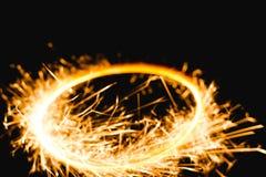 Brandende cirkel met vonken Stock Afbeelding