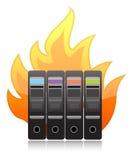 Brandende computerserver op witte illustratie stock illustratie