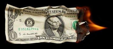 Brandende dollar royalty-vrije stock fotografie