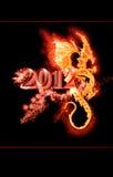 Brandende draak en het jaar van 2012 Stock Foto