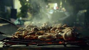 Brandende en gloeiende steenkolen in barbecuegrill voor het koken van kippenvlees terwijl picknick Sluit omhoog het vlees van de  stock footage