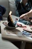 Brandende foto na spleet omhoog royalty-vrije stock foto