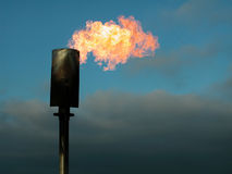 Brandende gassen in vlamtoren Stock Foto's