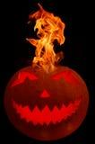 Brandende Halloween pompoen Royalty-vrije Stock Afbeelding