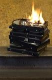 Brandende harde schijven Stock Foto