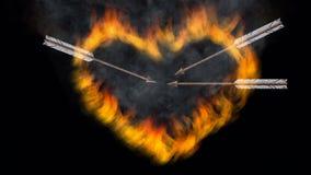 Brandende hart en ijzerpijl royalty-vrije illustratie