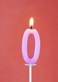 Brandende kaars als nummer nul Stock Afbeelding