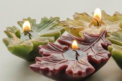 Brandende kaarsen in de vorm van een blad Royalty-vrije Stock Afbeeldingen