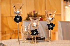 Brandende kaarsen in glas Royalty-vrije Stock Foto