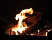Brandende Login Hete Brand en Vlammen Royalty-vrije Stock Foto's