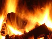 Brandende open haard Stock Fotografie