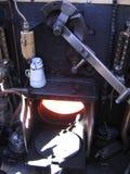 Brandende oven in stoommotor Stock Foto