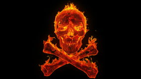 Brandende schedel en gekruiste knekels vector illustratie