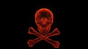 Brandende schedel en gekruiste knekels royalty-vrije illustratie