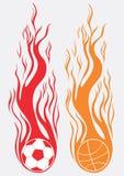 Brandende sportballen Royalty-vrije Stock Foto