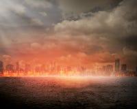 Brandende stad Royalty-vrije Stock Afbeeldingen