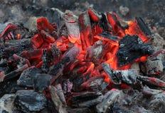 Brandende steenkolen na het roosteren royalty-vrije stock afbeelding