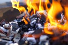 Brandende steenkool Stock Fotografie