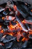 Brandende steenkool Stock Foto's