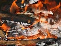 Brandende vlam van het kampvuur Royalty-vrije Stock Fotografie