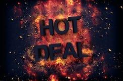Brandende vlammen en explosieve vonken - HETE OVEREENKOMST royalty-vrije stock foto's