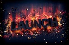 Brandende vlammen en explosieve vonken - LANCERING royalty-vrije stock afbeelding