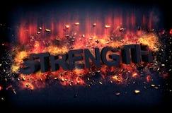 Brandende vlammen en explosieve vonken - STERKTE royalty-vrije stock afbeeldingen