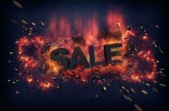 Brandende vlammen en explosieve vonken - VERKOOP stock afbeelding