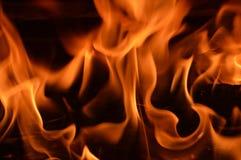 Brandende vlammen, open haard Stock Afbeeldingen