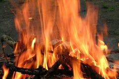 Brandende vuur en logboeken bij nacht Royalty-vrije Stock Fotografie