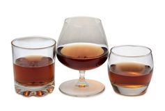 Brandewijn en cognac vijf stock fotografie