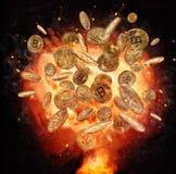 Brandexplosie van Bitcoins-crypto muntsymbool, op B Royalty-vrije Stock Foto