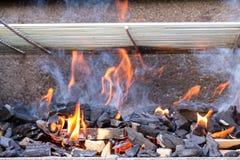 Brandflammor röker kol royaltyfri fotografi