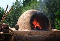 Brandhaard van oud fornuis Stock Foto
