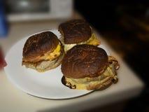 Brandhamburger in einer weißen Platte stockbild
