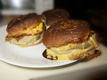 Brandhamburger in einer weißen Platte lizenzfreie stockbilder