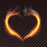 Brandhjärta på mörk genomskinlig bakgrund Arkivfoton