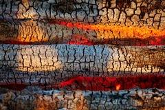 Brandhout in de brand Brandende steenkolen Royalty-vrije Stock Foto