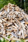 Brandhout in een stapel in een bos Stock Foto's