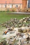 Brandhout en kettingzaag in een tuin stock afbeelding