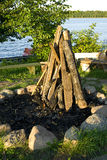 Brandhout klaar om een brand te maken Stock Fotografie