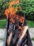 Brandhout voor de brandwond van de barbecuegrill stock afbeelding