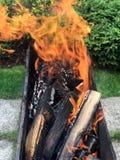 Brandhout voor de brandwond van de barbecuegrill stock afbeeldingen