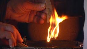 Brandhout voor Verlichting stock videobeelden