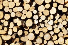 Brandhout, in woodpile wordt gestapeld die stock foto