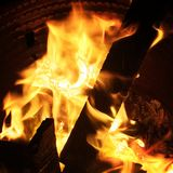 Brandhoutvlammen Royalty-vrije Stock Foto
