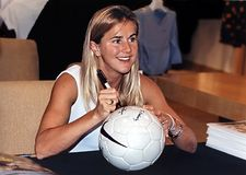 Brandi Chastain. 2-time FIFA World Cup champion, twice Olympic gold medalist for the USA, sportscaster and commentator, Sports Illustrated magazine cover girl Royalty Free Stock Photos