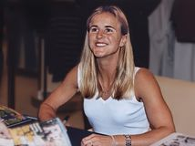 Brandi Chastain. 2-time FIFA World Cup champion, twice Olympic gold medalist for the USA, sportscaster and commentator, Sports Illustrated magazine cover girl Royalty Free Stock Photography